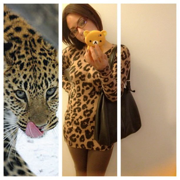 #picstitch not too exciting today. Leopard top. Leopard nails. And allergies.  (Taken with Instagram)