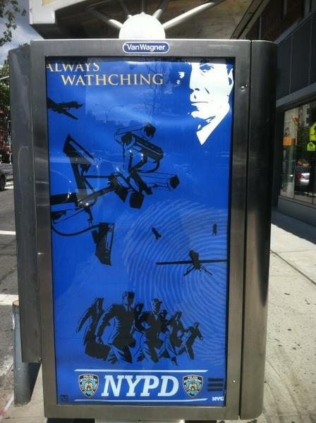 "laughterkey:  lorim:  azipaybarah:  ""Always Watching:— an ad featuring Mayor Michael Bloomberg and the NYPD, via Michael Tracey  Creepy is an understatement. What exactly is this ad supposed to communicate?? ""Congratulations! You're living in 1984 and/or Super Sad True Love Story.""  This isn't street art?    Edit: It's looking more like mostly well-made street art (the mock Ad Council and NYC logos threw me.) But then Salon points out the spelling mistake. Here's a twin poster, too, albeit a less successful one, in my opinion."
