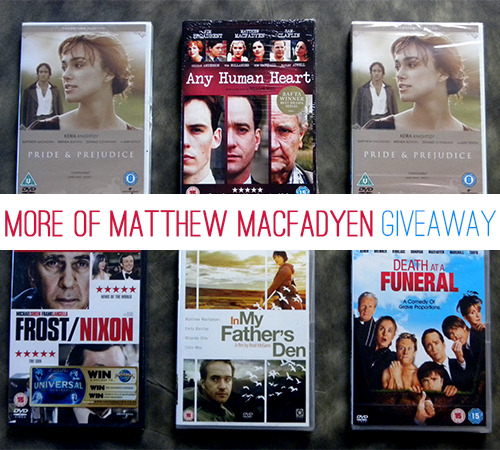 moreofmatthewmacfadyen:  More Of Matthew Macfadyen Giveaway As you all know (or now you will know), on October 17th it is Matthew Macfadyen's 38th birthday. To celebrate this and also to thank all the followers of this blog for being so nice, I am doing a giveaway. I am calling it like that but all the dvds have never been used. There will be 3 winners, who will be chosen by a random number generator. 1st prize: Any Human Heart + Pride and Prejudice + another dvd. 2nd prize: Pride and Prejudice + another dvd in the two left. 3rd prize: The last dvd. The three other dvd the winners will choose from are: Death at a Funeral, Frost/Nixon and In My Father's Den. These dvd were bought in the UK (because, really, who will listen to Matthew Macfadyen's dubbed voice when you can hear the real one!) so they are Region 2 (but you can read them on a computer and/or if you have a region free dvd player) and only have English (except Frost/Nixon that also seems to have Hungarian???) Rules: You do not have to follow this blog as this giveaway is to let other people know about that talented man ; Likes will not be counted ; You can reblog up to 38 times. But please, be nice to your followers and do not reblog it 38 times in ten minutes when I give you one month to do that! If I'm finding people who reblog it more than 38 times or use their inactive/fake/giveaway accounts to do it, they will not be eligible to win ; As it is a giveaway for his birthday you will be added for another entry if you write, after the text, why you like Matthew Macfadyen ; Your askbox needs to be open so I can contact you if you win. If I do not get a reply within 48 hour, I will pick another winner ; I will ship worldwide and pay for it so you don't have to worry about this ; You must be willing to provide me with your address and real name. Please keep the text and not just the image to let other people know about this giveaway. If you have any questions about this giveaway (anonymous questions will not be answered), let me know. This giveaway ends on: October 17th at 12AM (GMT) Good luck and keep watching lot of films/series/… with Matthew Macfadyen!