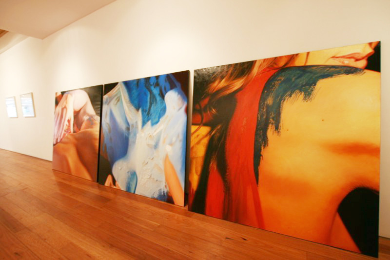 Inside the Metro Gallery, Melbourne, Australia. Hyperreal oil paintings by JKB Fletcher