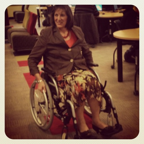 Dr. Enns is participating in the Canadian Paraplegic Association's Chair-Leaders event by spending the day in a wheelchair.  (Taken with Instagram at McNally Building)