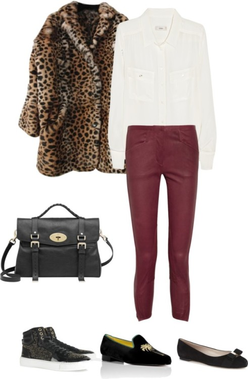 Leopard fur coat White blouse Burgundy trousers Black Mulberry Alexa Black 'fashion' high-tops/black velvet slippers/black (Ferragamo) pumps