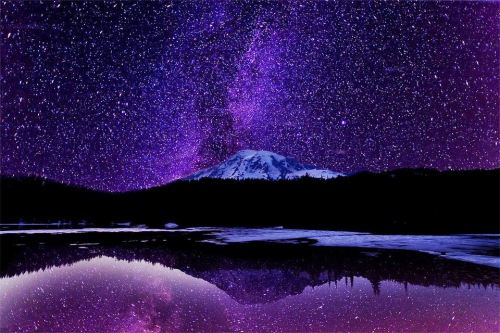 Milky Way Rising Over Mt Rainier
