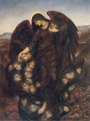 1916 painting of the Angel of Death collecting souls by Evelyn De Morgan