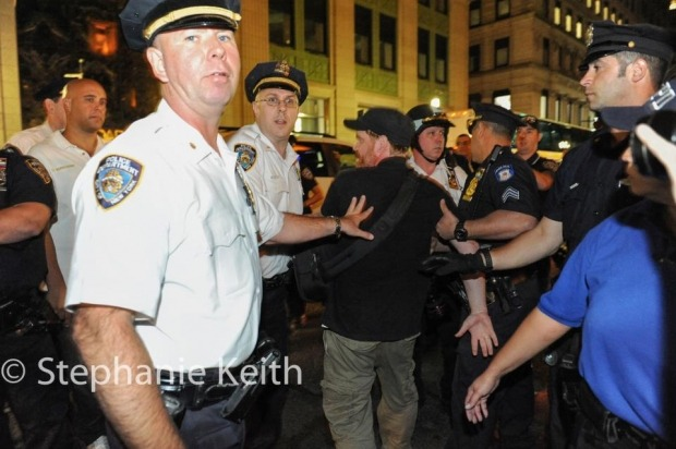 right-to-record:  Photojournalist Arrested by NYPD. From this weekend: Photographer Charles Meachem arrested by NYPD on September 15 while covering Occupy Wall Street. This is the second time Meachem was arrested by NYPD in the past 12 months. Photo by Stephanie Keith.
