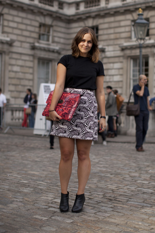 She's got zebras on her skirt…and we love it! And the rest of the J.W. Anderson x Topshop collection…
