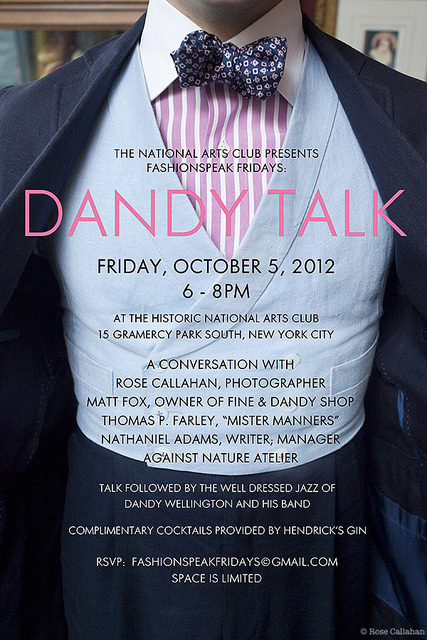 You are invited:  Dandy Talk on Friday Oct 5, 2012 at The National Arts Club in New York City