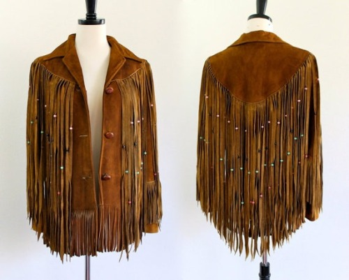 70's Brown Suede Southwestern Leather Fringe Jacket
