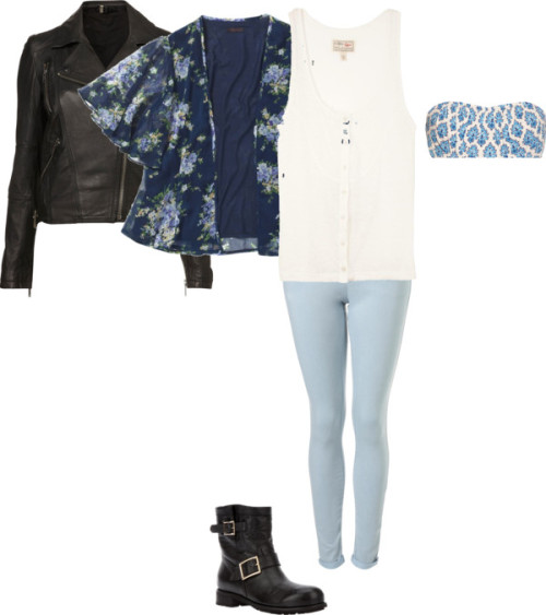 Black leather jacket Blue/printed kimono White vest top Blue bandeau top Light blue jeans Black biker boots