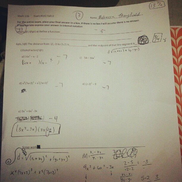 My first math 116 exam and I got a 3/100. I am just that talented. #wku #retaking #fuckschool #ihatemath  (Taken with Instagram)
