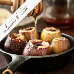 Roasted Figs with blue cheese and honey salad