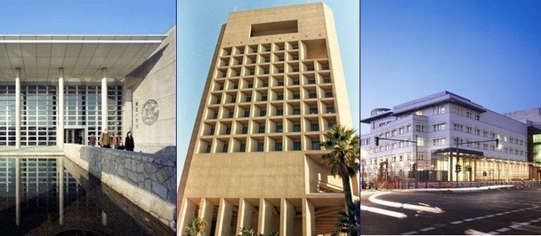 Fortress America: How the U.S. Designs its Embassies  The U.S. Embassy in Cairo is an unusual building. For one thing, as you can see in the center photo above, it's over 10 stories high — most embassies are much shorter. For another, it's right in the middle of downtown Cairo, in a posh area called Garden City, a stone's throw from the Nile and a short walk from Tahrir Square. On normal days, this prominent location underscores that the U.S. is an engaged and important presence in Egyptian affairs. This past week, it made the building a quickly accessible assembly point for protesters and the site of a violent stand-off. Issues like these are the subject of serious debate in the world of embassy design, where architects try to construct buildings that will, in good times and bad, represent American values while they withstand the force of bombs. For the people who build embassies, that's a difficult balance, and one that has shifted many times in the last few decades between two competing schools of thought: isolation and civic engagement.  Read more. [Images: State Department/SOM]