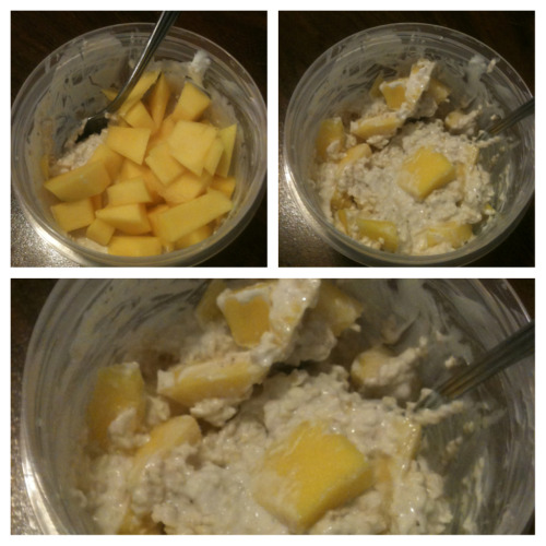 Today's Breakfast: Over Night Oats with Mango  (my phone doesn't take appetizing pictures, but it's DELICIOUS!)