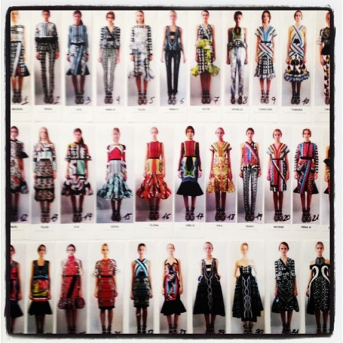 #PeterPilotto's lovely line-up. Single file, ladies! #LFW  (Taken with Instagram)
