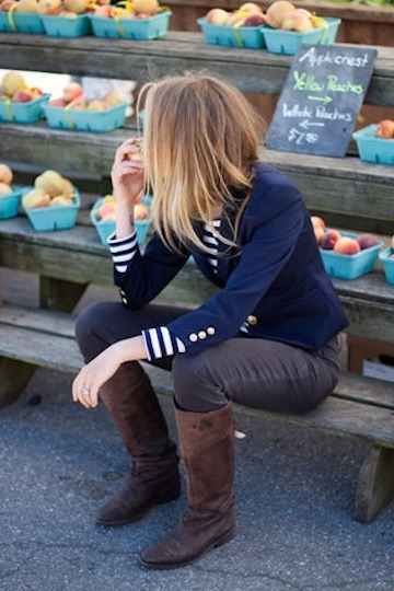 #PinterestFashionFind: Nautical & navy with great brown boots. #Fall #fashion. Source: Emerson Fry