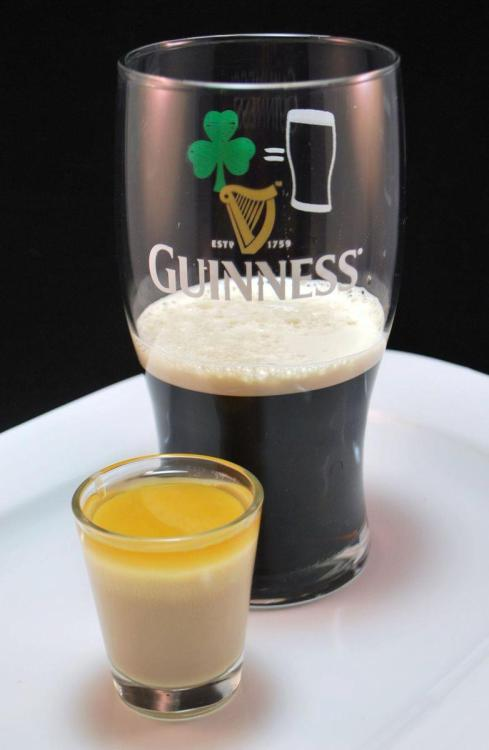 """EMom, what is an Irish Car Bomb?"" Fill a double shot glass with 1 part Irish cream and 1 part Jameson whiskey, and drop the glass into a pint mug filled with Guinness Stout. Drink this quickly, as the cream tends to curdle in stout.http://www.myemom.com/What-is-an-Irish-Car-Bomb/"