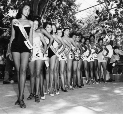 vintagegal:  Group of beauty contestants pose lined up in swimsuits, c. 1960 (via)