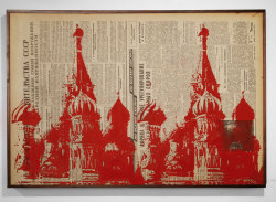 "SUBMISSION: dannyschutt:  St. Basils Repeated. Ink and newspaper on wood panel. 16"" x 23"""