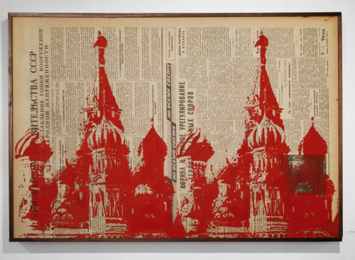 """sfmoma:  SUBMISSION: dannyschutt:  St. Basils Repeated. Ink and newspaper on wood panel. 16"""" x 23"""""""