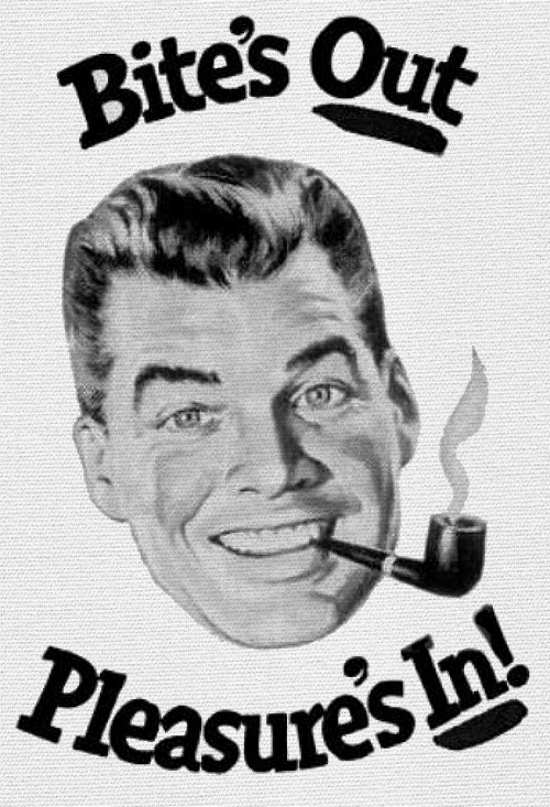 Bite's Out - Pleasure's In… detail from 1951 Prince Albert ad.