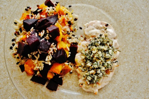 lunch time: wild rice with butternut squash and beets with a walnut sage honey pesto ontop grilled chicken