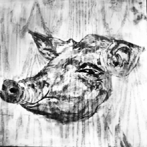 Drawing on the wood  # art  #Drawing  #charcoal  #maker  #pig  170912  (來自 Instagram)
