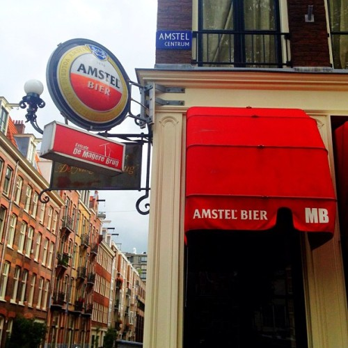 Ok I get the point! We're in #Amstel country!  (Taken with Instagram at Cafe De Magere Brug)