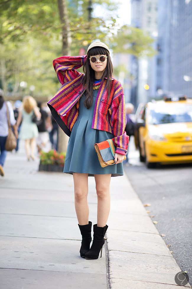 Street Style: Leaf Greener accentuates a lovely neutral dress with a colorful jacket and accessories.  Via I'm Koo.