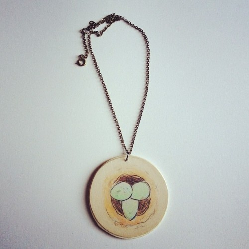 Bird's nest necklace. #art #artist #draw #drawing #birdnest #bird #nest #jewelry #wood #accessory #accessories #fashion #handmade #DIY #chain #watercolor #watercolour #paint #painting #lookbook #outfit #style #stacystranzl #stacymariestudios  (Taken with Instagram at Stacy Marie Studios)