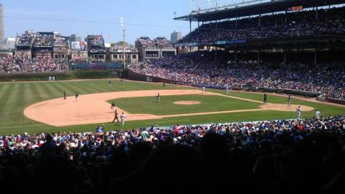 From theamc02's seat, just past 3rd base at Wrigley Field, you can see a bunch of the roof top bleachers, that are set up on the buildings across the street. (via Wrigley Field section 211 row 11 seat 3 - Chicago Cubs shared by theamc02)