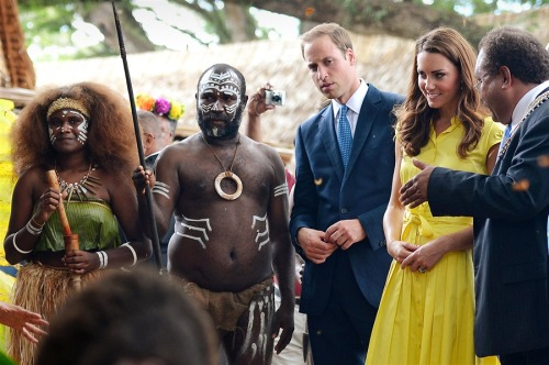 Will & Kate ride in war canoe, chat with the locals in Solomon Islands (Photo: William West / Pool via AFP - Getty Images) The royal couple are on their third stop of a nine-day tour of Southeast Asia and the South Pacific on behalf of Queen Elizabeth II to commemorate her Diamond Jubilee. The trip comes amid furor over the publication of topless pictures of the duchess and their office announced Sunday that the royal couple are to make a criminal complaint against the photographer and the French magazine. See more photos.