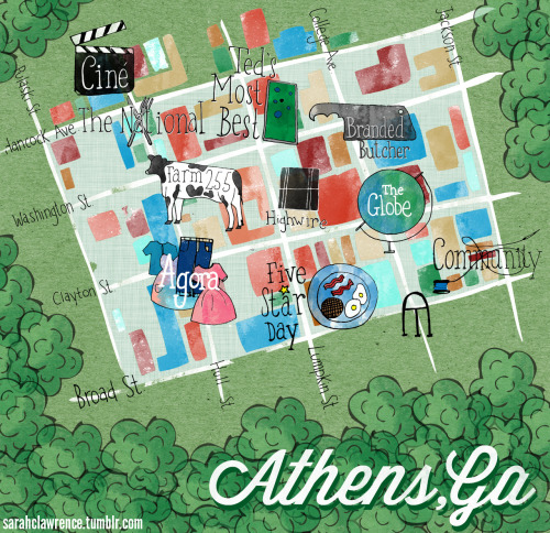 My pal Alyssa and her pal Natasha set out to give a guide to Athens for Design Sponge and oh, is it pretty. Pretty to look at thanks to the designs of Sarah Lawrence and pretty to read because all of the places and things they chose are such lovely places and things.  Come visit! Come stay! Move here! Whatever it takes! I love my little city!  sarahclawrence:  I recently worked with two lovely ladies from Athens to make a city guide for Designsponge.com, a modern ladies' design mecca. Natasha and Alyssa compiled a list of their favorite places here and I pulled my favorites from the list to make a map of the downtown area. This is the third map I've done for Athens, and I love these!
