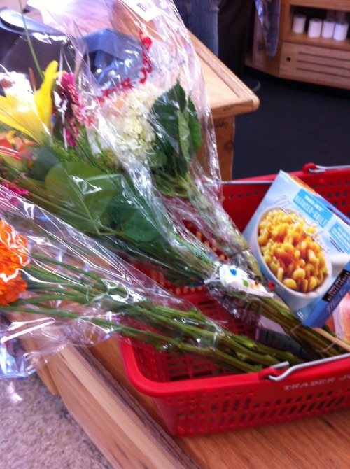 Flowers and Trader Joe's Reduced Guilt Mac and Cheese.
