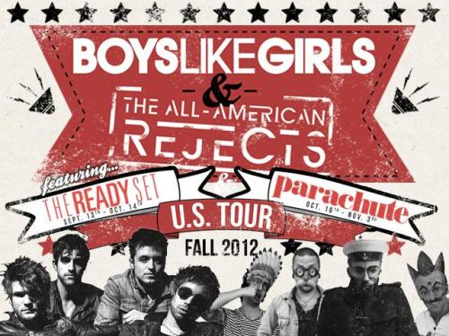Boys Like Girls, The All-American Rejects, The Ready Set, and Parachute Live Stickam Chats Join Parachute live today, MONDAY at 2 PM ET / 11 AM PT for the kick-off to a new series of chats with each of the bands on the BOYS LIKE GIRLS / THE ALL-AMERICAN REJECTS / THE READY SET / PARACHUTE tour.    The Ready Set will be up next, tomorrow, TUESDAY at 6:30 PM ET / 3:30 PT.   Tune in an join all the chats live at http://stickam.com/blgaar and be sure to follow to receive live alerts and updates!