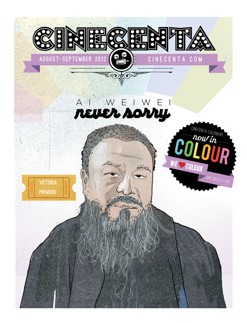 Portrait of Ai Weiwei for cover illustration of the August-September 2012 issue of Cinecenta's program calendar.