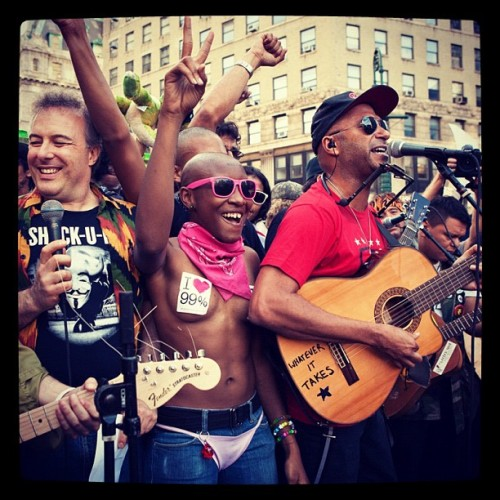 "To mark the one year anniversary of #OccupyWallStreet yesterday, #TomMorello played a rousing set in New York's Foley Square. ""The mistrust and resentment towards the status quo hasn't gone away,"" Morello said. Head to RollingStone.com for exclusive photos of the #OWS rally. Photo: Jessica Lehrman (Taken with Instagram)"