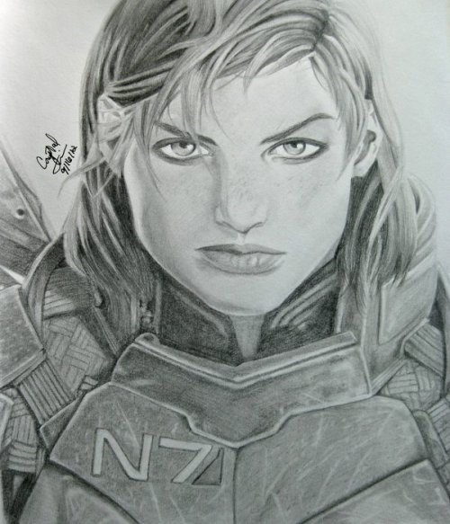 eclecticcollector:  Commander Shepard by ~Crystal-Cat After two weeks, here's my finished Commander Shepard portrait.