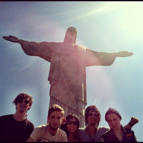 jessbowen:  The Summer Set visits the Mega Christ. Best birthday ever. (Taken with Instagram)