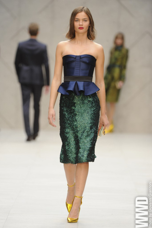 womensweardaily:  Burberry Prorsum RTW Spring 2013 Christopher Bailey turned out a collection full of intense color and sweetie wrapper shine — as well as flourishes of feather and lace.  I was lucky enough to witness all of the chaos and beauty of paparazzi and models outside of this event in Kensington Gardens today!