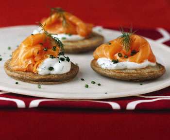 Buckwheat Pancakes with Smoked Salmon (Gourmet, March 2004)