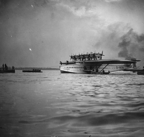 """The Dornier Flying Boat invented by German pioneer Claude Dornier (1884 - 1969) at Calshot."" (via)"