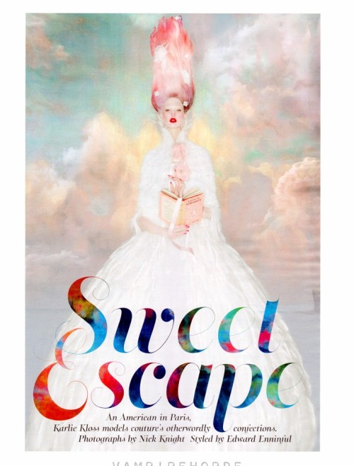 W October 2012 Title : Sweet EscapePhotography : Nick Knight ,Digital Technician : Jeseph Colley Model : Karlie Kloss
