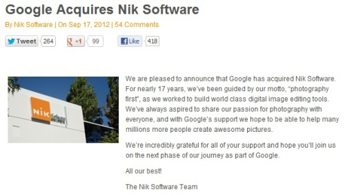 Congratulations to the team at Nik Software on their recent acquisition by Google. We're curious to see how this will affect development of Snapseed, as well as the rest of Nik's software catalog, and whether or not this might bring an end to some of iOS' most popular photography apps. source
