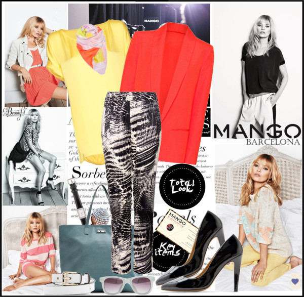 All in one… by mako87 featuring silk scarvesTop / Mango blouse / Mango jacket / Mango pants / Mango Black & White / Mango leather pumps / Mango tote bag / Kate Spade  / Mango crystal jewelry, $11 / Mango silk scarve / Mango belt, $11 / Mango sunglasses