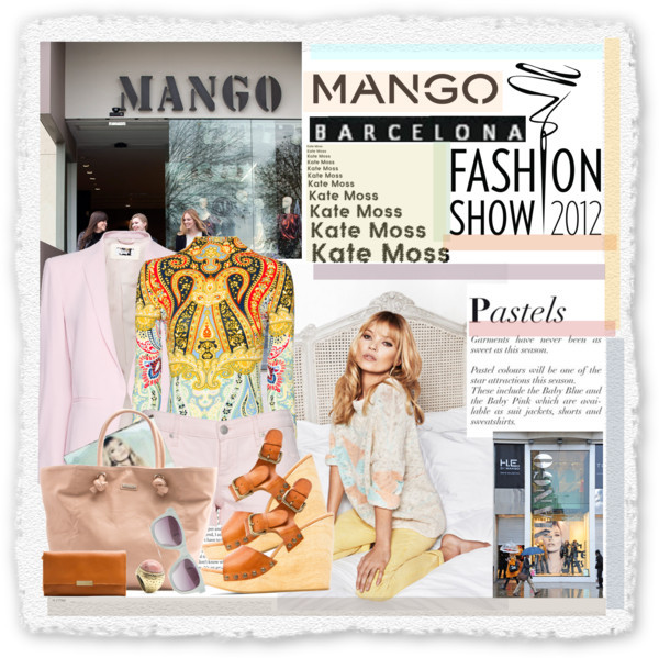 Fashion in Motion with MANGO & Kate Moss by mako87 featuring cotton shortsMango top / Mango blazer / Mango cotton shorts / Mango wedge shoes / Mango handbag / Mango clutch bag, $65 / Mango stone ring, $16 / Mango sunglasses