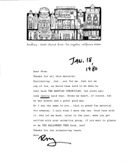Letter from Ray Bradbury to Stan Lee, 1980.