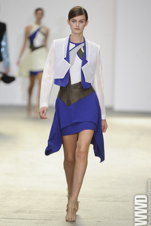 Antonio Berardi RTW Spring 2013 The designer worked fluidity and volume into his form-fitting aesthetic.  For More See all of WWD.com's RTW Spring 2013 Runway Coverage
