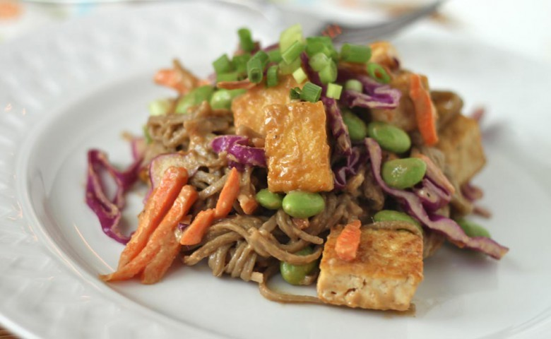 (via Soba Noodles and Tofu with Spicy Peanut Sauce - NoshOn.It)