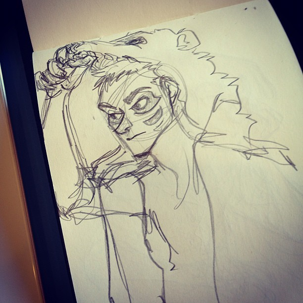 pembroke:  quick doodle of skin-walker stiles (Taken with Instagram)