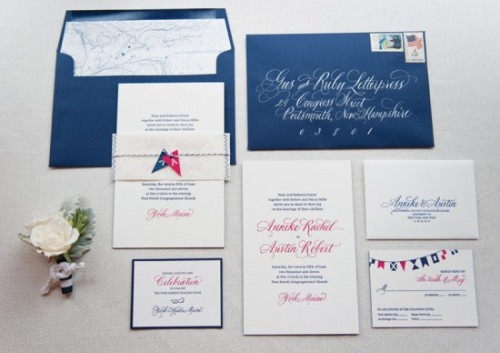 Gorgeous letterpress nautical wedding invites from Gus & Ruby